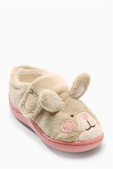 Cream Honey Bunny Slippers (Younger Girls)
