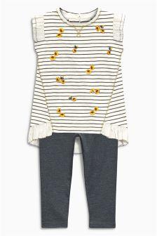 Grey /Ecru Stripe Tunic And Leggings Set (3mths-6yrs)