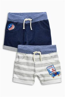 Cobalt/Stripe Badge Shorts Two Pack (3mths-6yrs)
