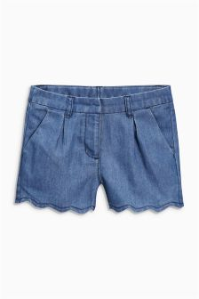 Denim Mid Blue Scallop Shorts (3-16yrs)
