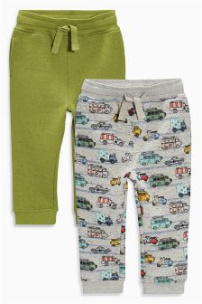 Green/Grey Printed Joggers Two Pack (3mths-6yrs)