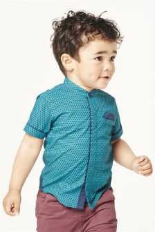Green Short Sleeve Geo Print Shirt (3mths-6yrs)