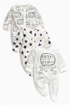 Monochrome Slogan Sleepsuits Three Pack (0mths-2yrs)