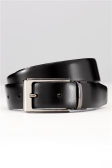 Black/Brown Textured Leather Reversible Belt