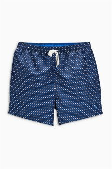 Navy Geo Print Swim Shorts