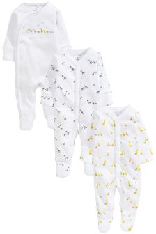 White Noah's Ark Sleepsuits Three Pack (0-12mths)
