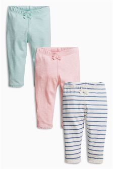 Stripe/Pink/Green Leggings Three Pack (0mths-2yrs)