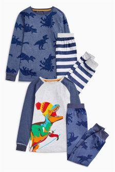 Blue/Grey Dino Stripe Pyjamas Two Pack (3-14yrs)