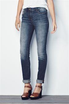 Dark Blue Textured Cigarette Jeans