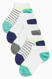 White Multi Stripe Trainer Liner Socks Five Pack (Younger Boys)