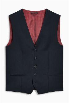 Navy Textured Slim Fit Suit: Waistcoat