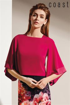 Pink Coast Fray Crop Top With Batwing Sleeve