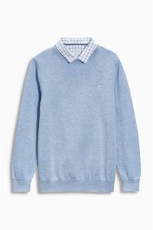 Light Blue Check Mock Layer Top (3-16yrs)