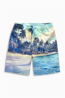 Blue Photographic Beach Swim Shorts (3-16yrs)