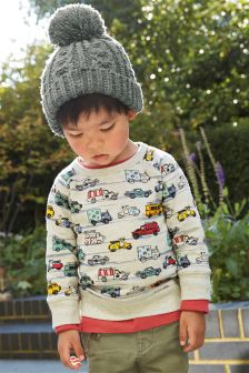 Ecru Car Printed Crew Neck Sweat (3mths-6yrs)
