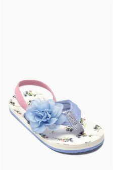 Blue Corsage Flip Flops (Younger Girls)
