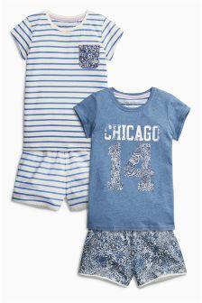 Blue Short Pyjamas Two Pack (3-16yrs)