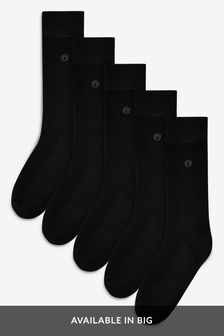 Black Plain Comfort Socks Five Pack
