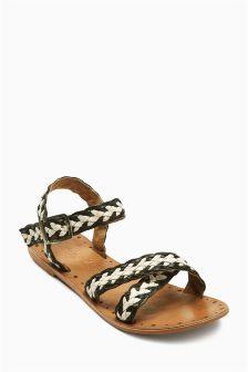 Monochrome Woven Strap Sandals (Older Girls)