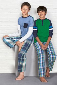 Blue/Green Check Pyjamas Two Pack (3-16yrs)