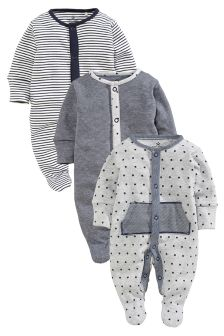 Grey Fabric Sleepsuits Three Pack (0mths-2yrs)