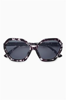 Tortoiseshell Effect Hexagonal Sunglasses