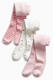 Pink/Cream Strawberry Tights Three Pack (0mths-2yrs)