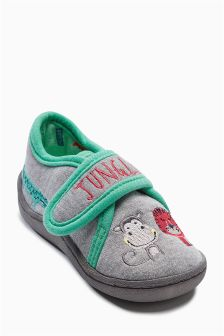 Grey Jungle Slippers (Younger Boys)