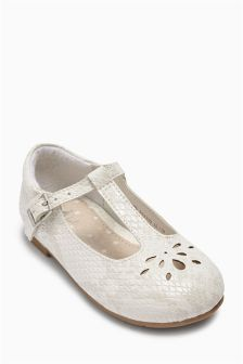 White T-Bar Shoes (Younger Girls)