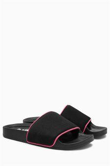 Black Slogan Slider Sandals