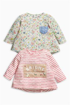 Printed Long Sleeve Tops Two Pack (0mths-2yrs)