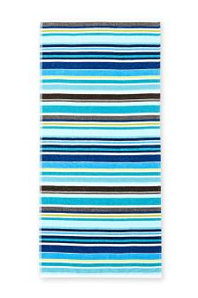 Teal Striped Woven Beach Towel