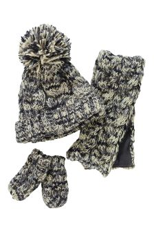 Monochrome Twisted Hat, Scarf and Mitt Three Piece Set (Younger Boys)