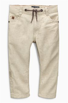 Neutral Linen Blend Roll Leg Trousers (3-16yrs)