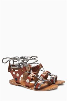 Tan Embellished Wrap Sandals
