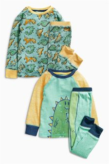 Green Dinosaur Pyjamas Two Pack (9mths-8yrs)