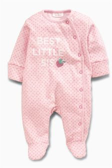 Pink Sister Strawberry Sleepsuit (0-18mths)