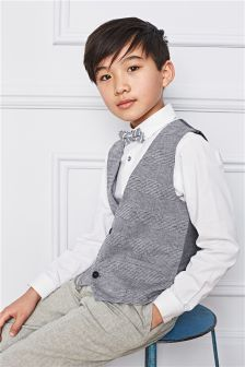 Blue Waistcoat, Shirt And Bow Tie Set (12mths-16yrs)
