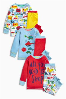 Multi Comic Transport Pyjamas Three Pack (9mths-8yrs)