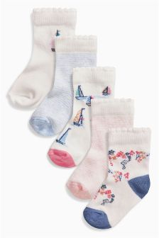 Pink/Blue Socks Five Pack (Younger Girls)
