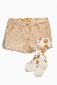 Ochre Textured Shorts And Tights Set (3mths-6yrs)
