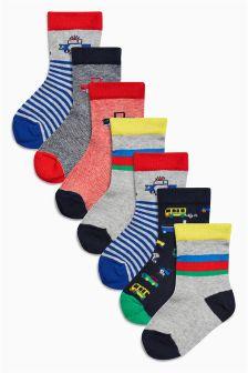 Multi Bright Transport Socks Seven Pack (Younger Boys)