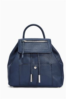 Navy Faux Leather Rucksack