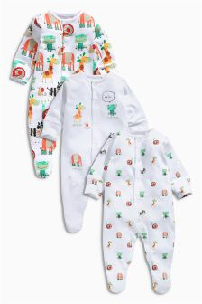 Bright Animals Sleepsuits Three Pack (0mths-2yrs)