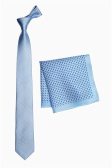 Blue Silk Tie And Pocket Square