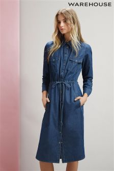 Blue Warehouse Denim Curved Hem Tie Detail Dress