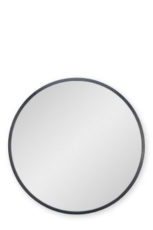 Black Painted Metal Round Mirror