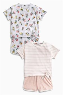 Pink Floral Short Pyjamas Two Pack (3-16yrs)