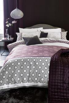 Cotton Rich Luxe Geo Stripe Plum Bed Set