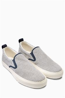 Navy Textured Slip-On